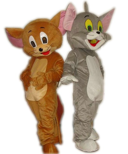 New Tom Cat and Jerry Mouse mascot costume, Tom and Jerry cartoon dolls performance clothing Free Shipping