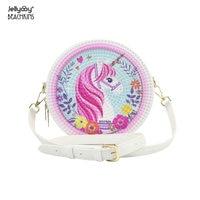 Jellyooy BEACHKINS INS Chic Girl 3D Printed Matte Jelly Rattan Round Bags 20CM Unicorn Flamingo Circular Crossbody Bag