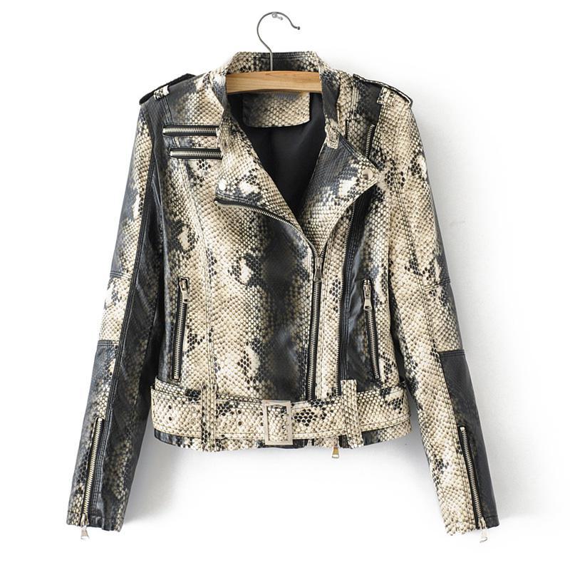 8612ddb01 Fitaylor Women Faux Soft Leather Jacket Snakeskin Black Punk Short ...