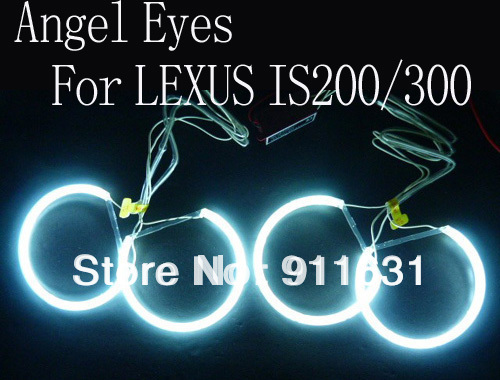Car CCFL 4pcs/set Led Angel Eyes Headlights Halo Ring For LEXUS IS200/300 White Color Choose and Inverters