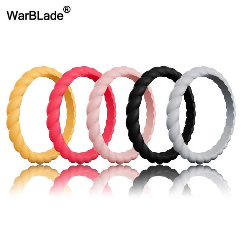 Moda 3mm fina trançado anel de silicone para as mulheres anéis de casamento esportes hypoallergenic crossfit flexível tecido anel de dedo de borracha