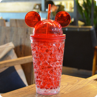 2017 New Plastic Ice Water bottle Cartoon Mouse Design Straw Ice bottle Children Sports Camping Space Bottle