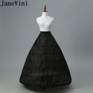 Image 1 - JaneVini 2019 גדול תחתונית 6 חישוקים כדור שמלה שחור קרינולינה תחתונית לבן נשים חתונה שמלת תחתוניות תחתוני כלה