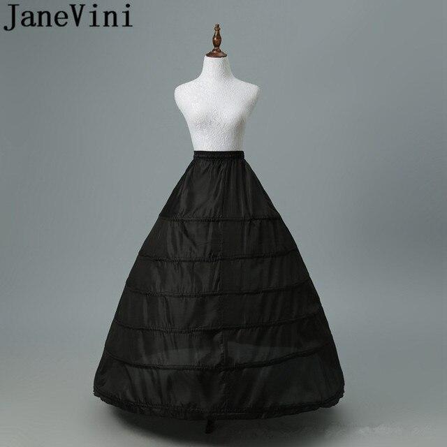 JaneVini 2019 גדול תחתונית 6 חישוקים כדור שמלה שחור קרינולינה תחתונית לבן נשים חתונה שמלת תחתוניות תחתוני כלה