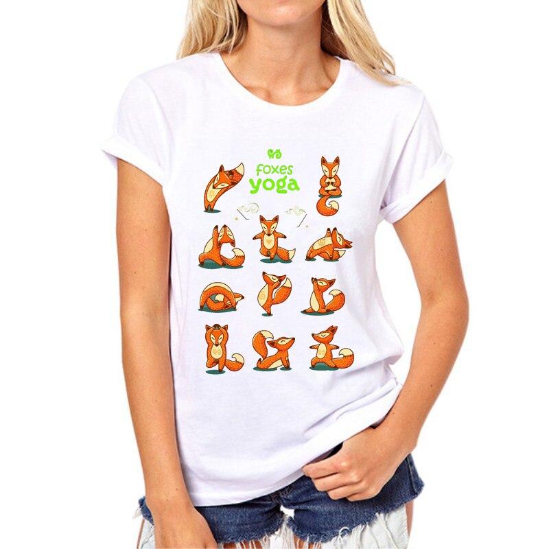 2020 Kawaii Fox Animal Print T-Shirt Women Tops Camiseta Graphic Tee Shirt Female White Harajuku Girl Tshirt Top Tees N8-1#
