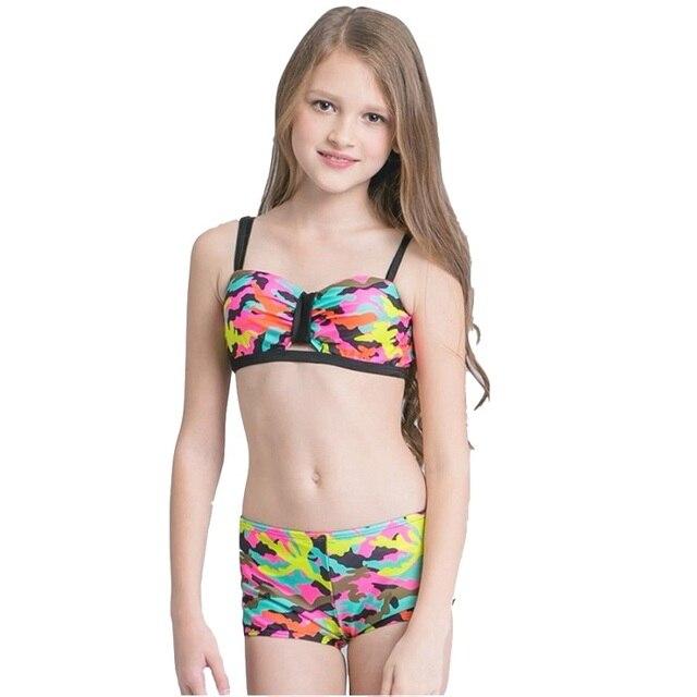 2018 Mädchen Kinder Camouflage Bikini Set Badeanzug Strand Tragen