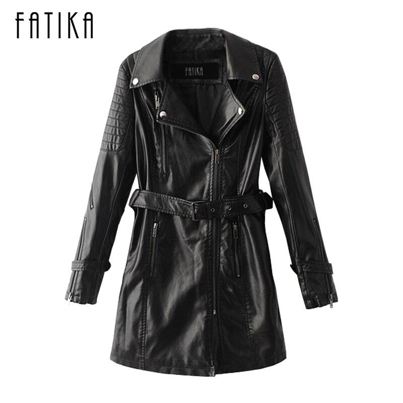 FATIKA 2017 Winter Women   Leather   Jackets with Belt Soft Pu   Leather   Coats Slim Long Design Turn Down Collar Motorcycle Outwear
