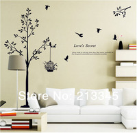 Saturday Mall New Arrival Home Decor Tree Wall Stickers Birdcage Birds Black Wall Decal Removable