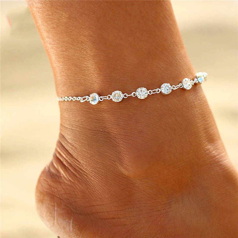 ZCHLGR แฟชั่นคริสตัล Anklets สำหรับผู้หญิง Silver Silver สี Boho ข้อเท้าสร้อยข้อมือเท้าสร้อยข้อมือ Bohemian เครื่องประดับขา