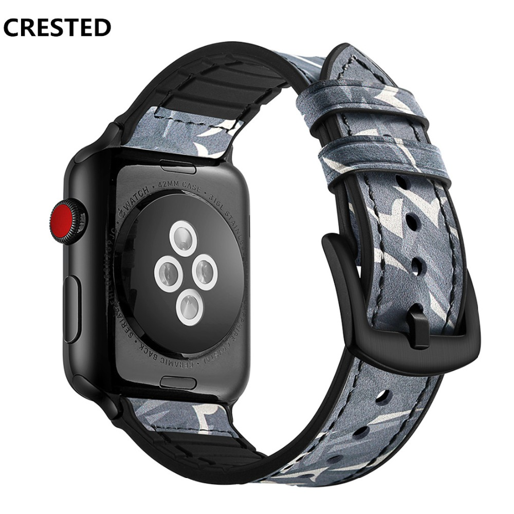 CRESTED sport Leather strap For Apple watch band 4 44mm 40mm silicone iwatch series 4321 42mm wrist camouflage bracelet belt