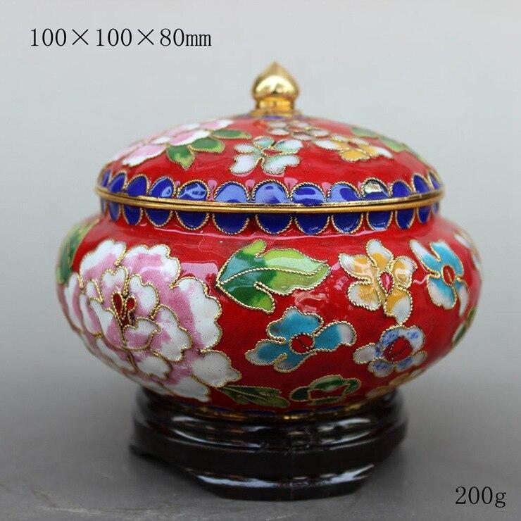TNUKK cuve de rangement en pot de thé technologie cloisonné émaillé rouge bleu et jaune artisanat décoratif. Trois couleurs en option.
