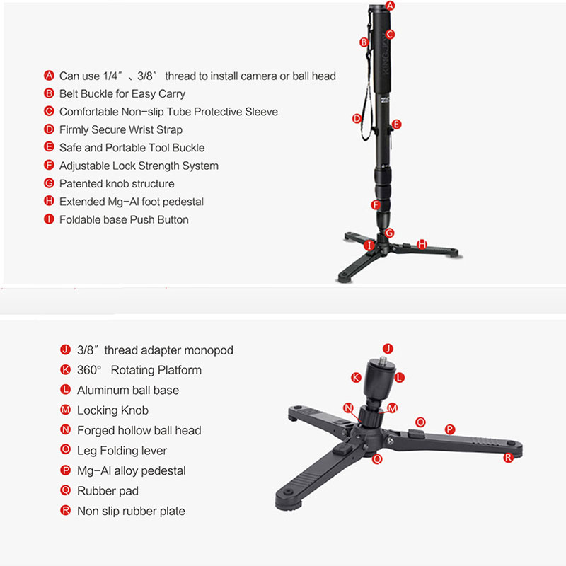 KINGJOY Official MP3008 VT 3510 Monopod Dslr Professional Camera Tripod Stand Video Para Movil Flexible Tripe Stativ All Models in Tripods from Consumer Electronics
