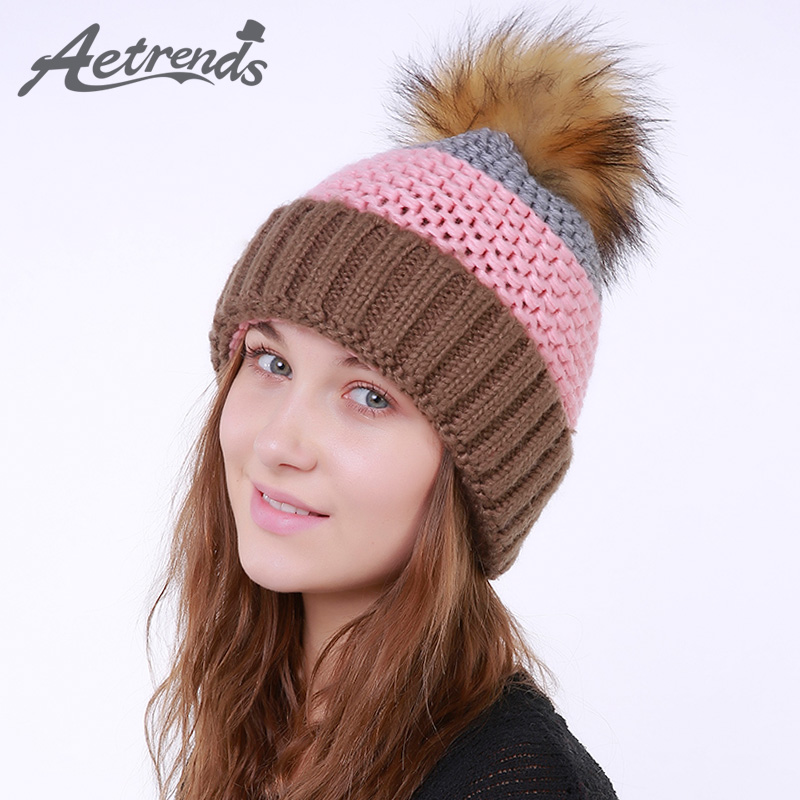 [AETRENDS] 2017 Winter Beanie Hats for Women Warm Knitted Female Caps Beanies Pompom with Top Ball Z-6010 2016 new beautiful colorful ball warm winter beanies women caps casual sweet knitted hats for women outdoor travel free shipping