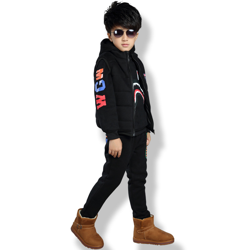 2017 New Clothing Sets Childrens Boys Winter Suit Hooded Cashmere Thickening Kids Sweatshirts+Trousers Three Piece 3-16T