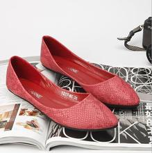 NEW 2019 Ballets Flats Women Shoes Japanned Leather Embossed Serpentine Pattern Flat Boat Shoes Flats Ladle Shoes Plus Size 41