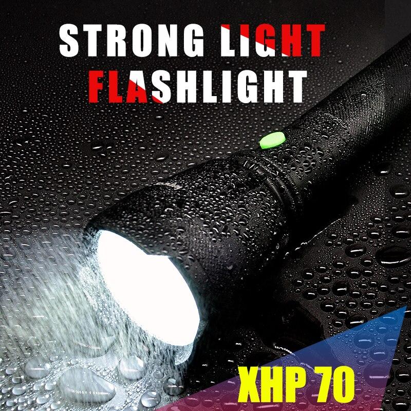 HONGTAIYANG Strong light LED multi-function searchlight 3800Lumens flashlight XPH waterproof camping searchlight