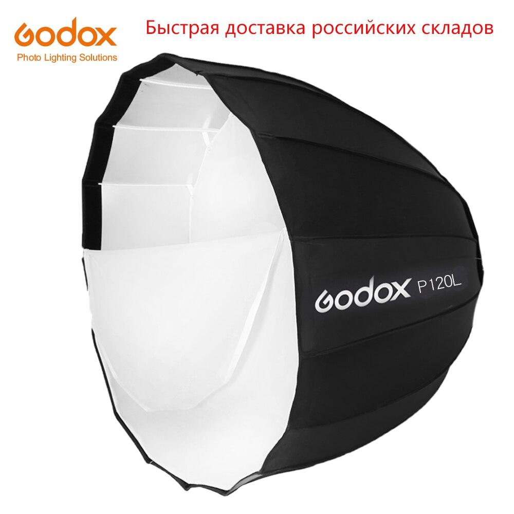 Godox Portable P120L 120 CM de profondeur parabolique Softbox Bowens montage Studio Flash Speedlite réflecteur Photo Studio Softbox-in Softbox from Electronique    1
