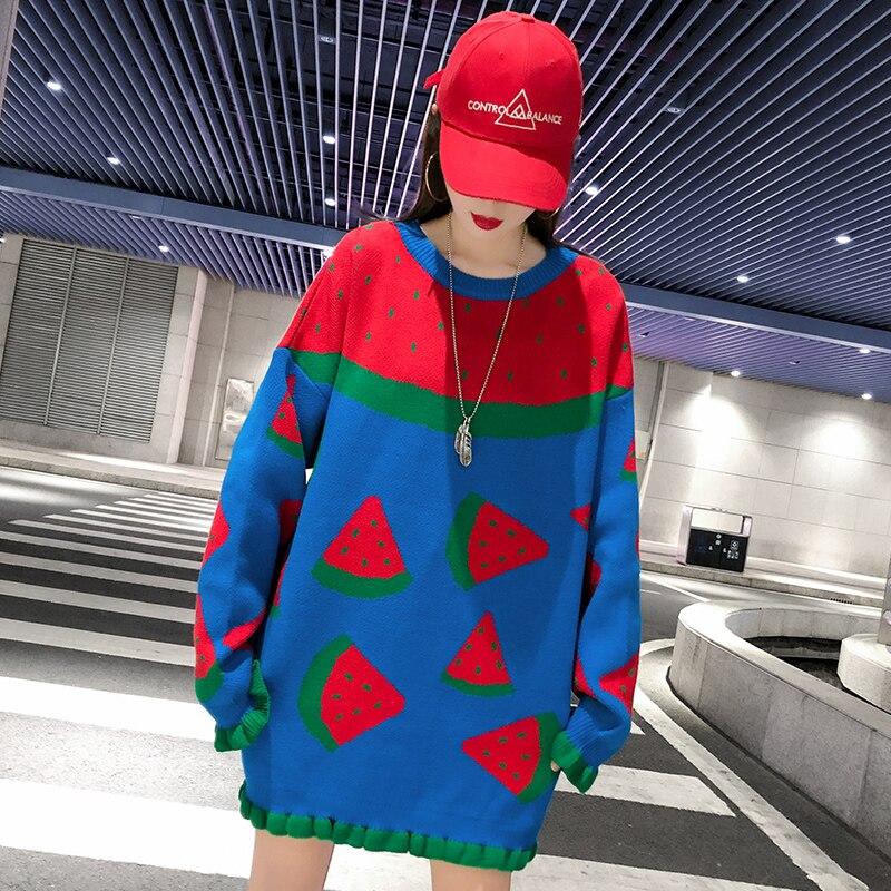 Femme Long Pull Bleu Imprimer Nourriture Tricoté Blouson Pour Top Robe Pastèque Cou Lâche Hiver Manteau O Noël Chaud De txwzTqRq