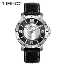Time100 Men's Watches Black Leather Strap Auto Date Quartz Watches Business Casual Wrist Watch For Men Clock relogios masculino цена и фото