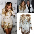 De Manga larga de Oro Con Cuentas Mini Jennifer Lopze Celebrity Dress Red Carpet Celebrity Dresses O_neck Más Tamaño Vestido de Noche