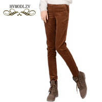 2017 Latest Spring Women Trousers Solid Color Corduroy Pants Loose Waist Feet Trousers High Grade Casual