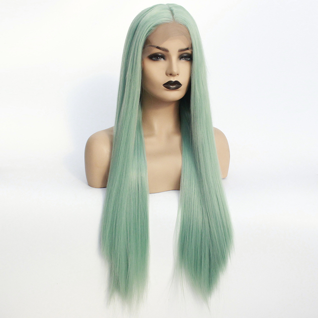 Mint Green Wigs Long Half Hand Synthetic Wig