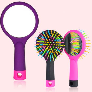 New Rainbow Tooth Air Volume Hair Comb S Curl Massage Healthy Hair Brush Comb Abundant hair Detangling Comb Mirror 3 Colrs image