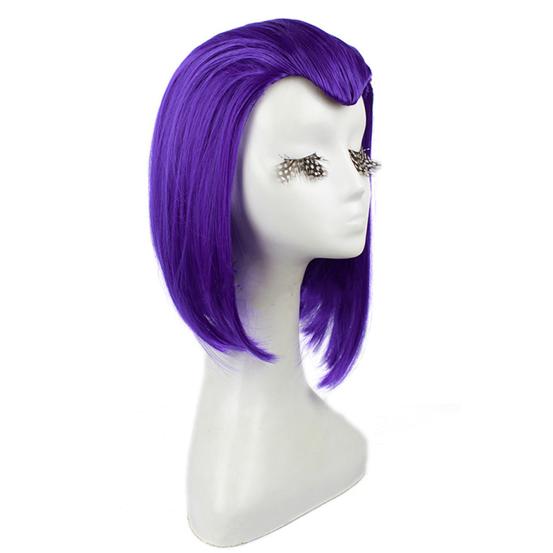 Image 2 - L email wig Brand New 35cm Purple Raven Cosplay Wigs Short Straight Heat Resistant Synthetic Hair Perucas Cosplay Wig-in Synthetic None-Lace  Wigs from Hair Extensions & Wigs