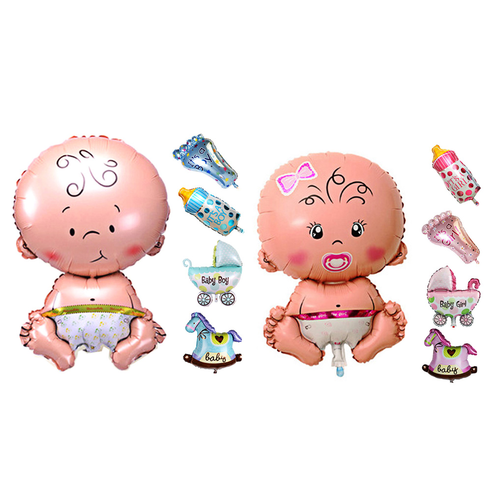Baby Shower Boys Girls Inflatable Toy Baby Chair Stroller Hanging Toy Holiday Decorations Foil Balloons
