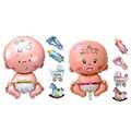 5 Pcs Beleza Balão de alumínio Do Chuveiro Do Chuveiro Do Bebê Das Meninas Dos Meninos Do Bebê Decorações Do Feriado Balões Folha Carrinho De Criança Azul (menino) rosa (menina)