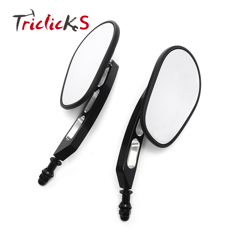 Triclicks Motorcycle Billet Aluminum 8MM End Side Rearview Mirrors Motorbike Left Right Rear View Mirror New