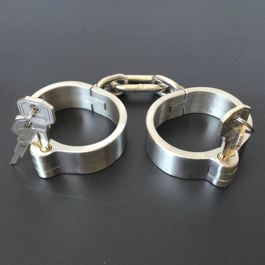 New female metal handcuffs stainless steel products for adults slave bdsm women bondage restraints handcuffs fetish sex toys