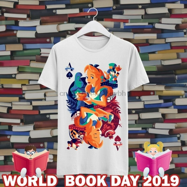 52f567e2 Alice in Wonderland World Book Day CMA110 Unisex Kids And Adults White Tee