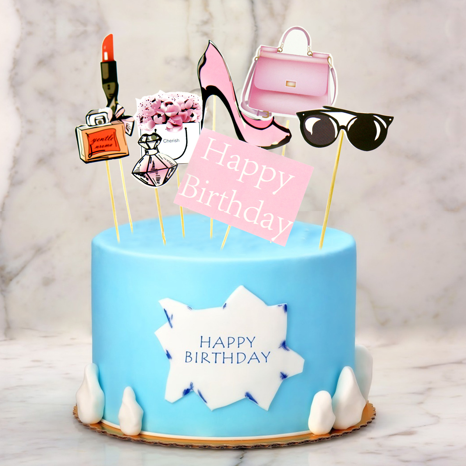 Super 8Pcs Set Perfume High Heeled Redlips Cake Topper Dessert Cupcake Funny Birthday Cards Online Necthendildamsfinfo