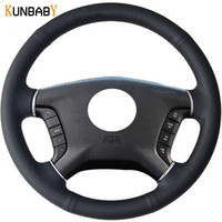KUNBABY Black Red Genuine Leather Car Steering Wheel Cover for Mitsubishi Pajero 2007 2014 Galant 2008 2012