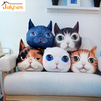 2016 Hot Sale 3D Print Cat Face Pillow Cushion Plush PP Fabric Decor Car Home Throw
