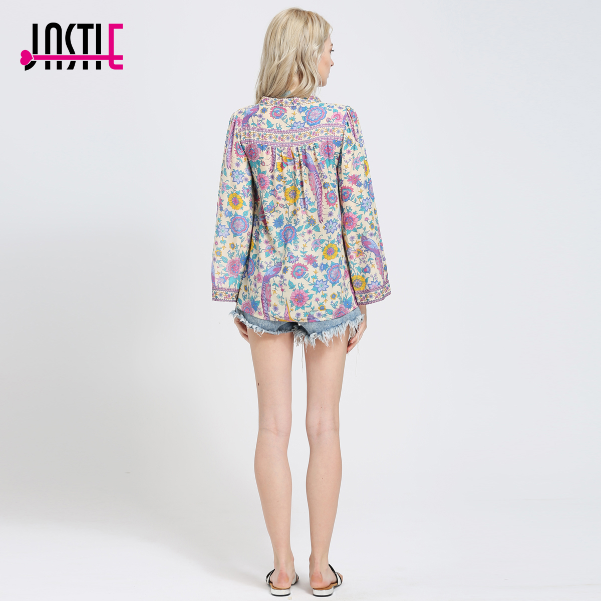 206 Long Jastie Multiple Casual Blusas Chic Impresión Tops Hippie Bohemia Floral Y V Flare Mujeres Manga Ladies cuello dgpcragq