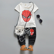 0-4 Age Summer Baby Boys Girls 3 Pcs Clothes Sets Kids Children Spiderman Printing T-shirts + Shorts + Bag Sports Clothing Suit