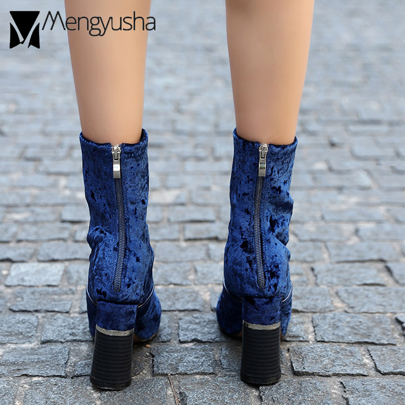 Pointu Chaussons Velours Doux bleu Élastique Designer Cheville Hiver Bottes Haute De Mode Celebrity Nouveau Automne Femme Noir Botas Bout Chelsea O8wkPn0