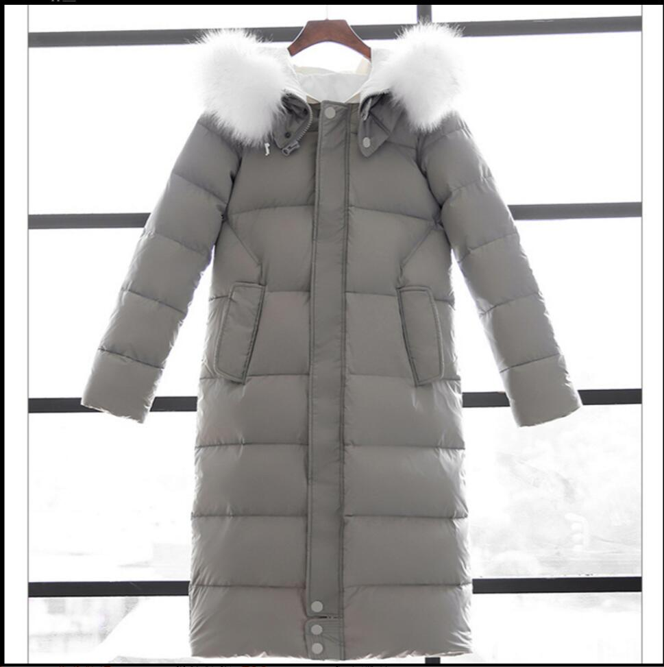 New White Duck Down Winter Coat Women's Slim Long Coats Overcoat Winter Jacket Plus Size Thick Down Parkas Korean women clothing 100% white duck down women coat fashion solid hooded fox fur detachable collar winter coats elegant long down coats