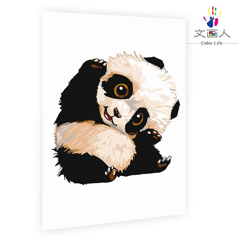 diy coloring paints by numbers with kits Animals Black and white china padan for kids practise painting for bedroom decoration