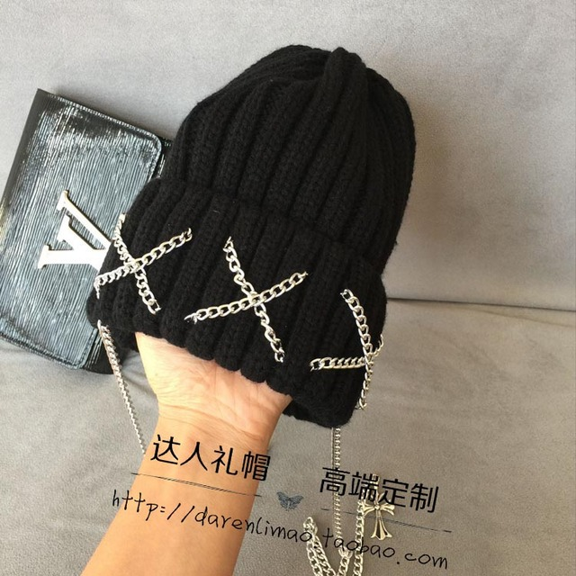 Hat crow heart long chain threading female hat knitting individuality