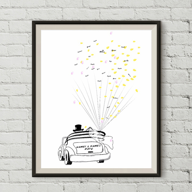 Wedding Couple Car Personality Custom Canvas Guestbook Fingerprint ...