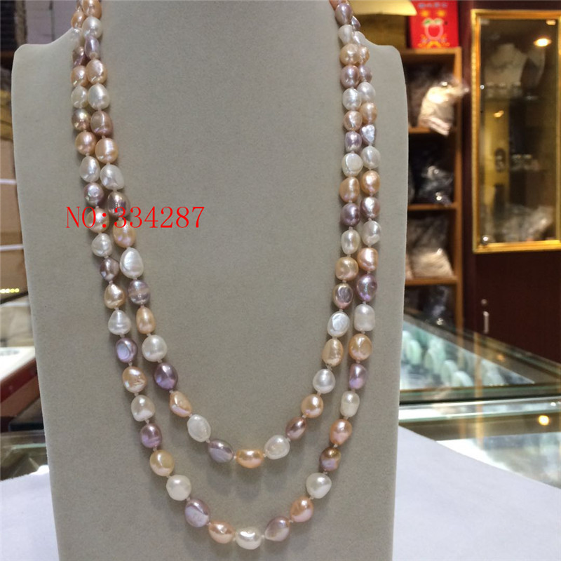 NEW Natural freshwater pearl 8-9 mm barlow irregular white pink purple necklace 48 inches