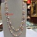 Ожерелье из натурального пресноводного жемчуга 8-9 мм, нерегулярное ожерелье из белого, розового, фиолетового цветов, 48 дюймов