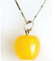 Huij 003946 Lovely 18KWGP Yellow Jade Apple Pendant And Necklace