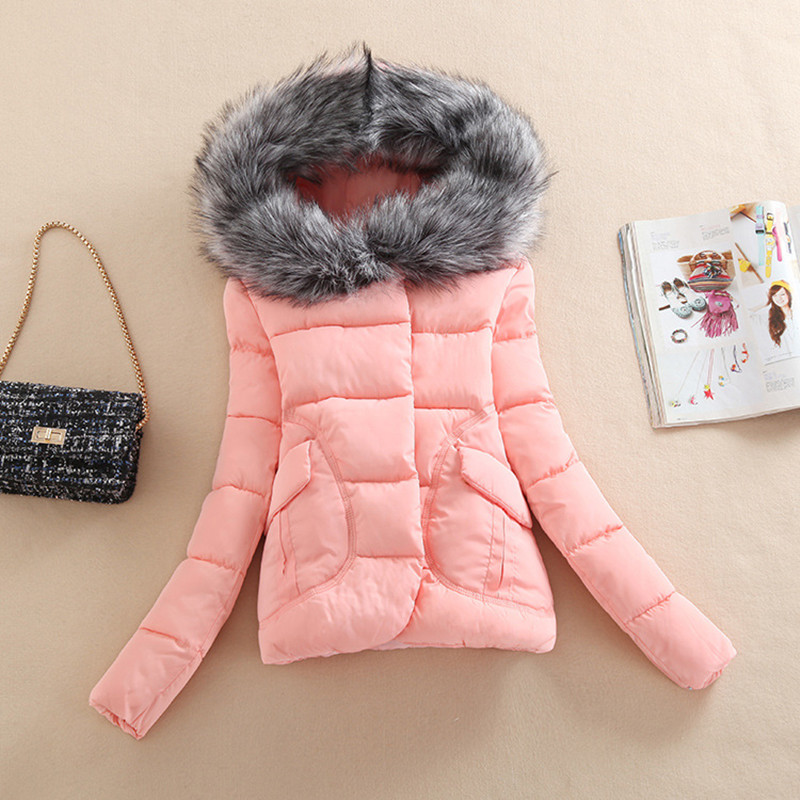 2019 Winter cotton-padded jacket coat Pure color cotton Winter Jacket Women Fur Hood Cotton Padded Coat   Parkas   For Women Winter