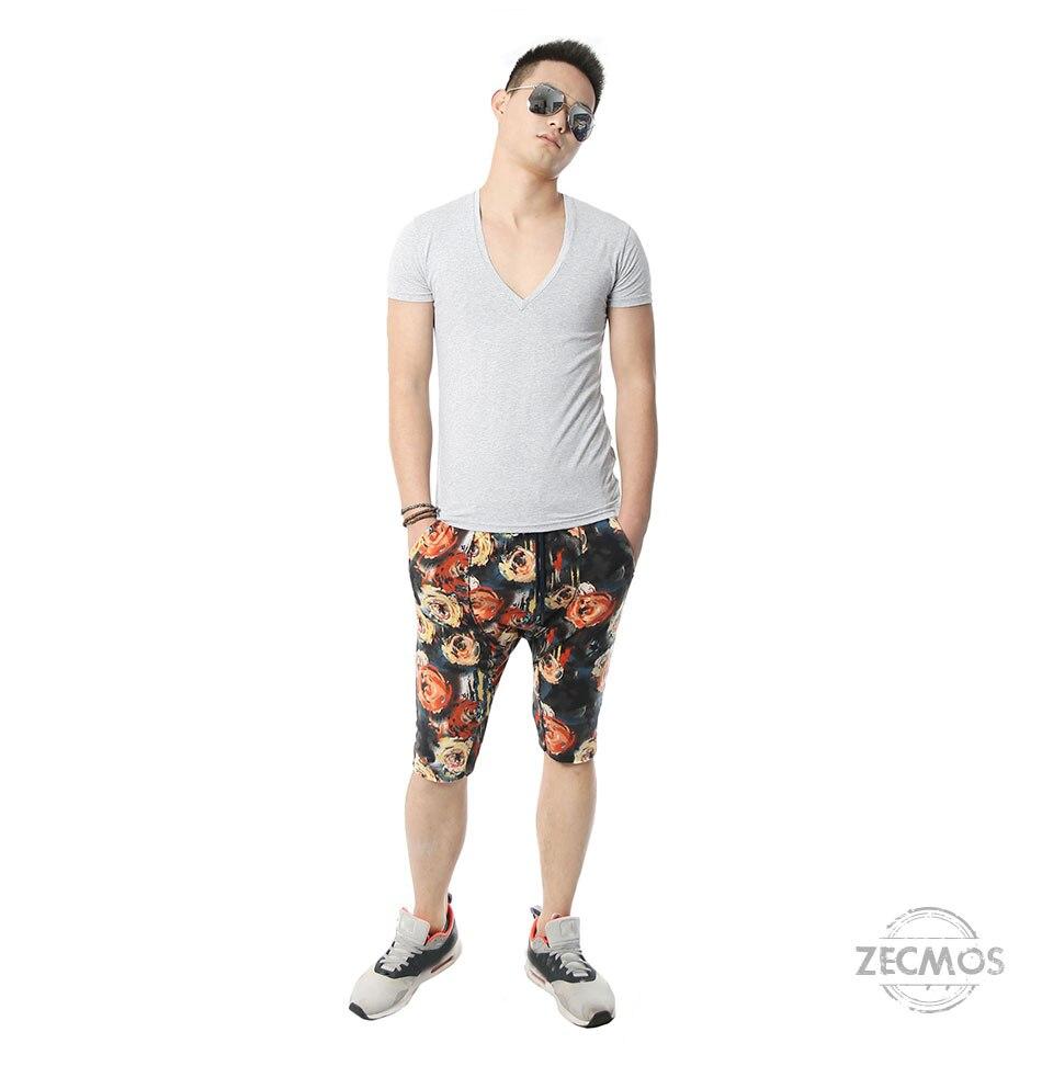 Zecmos Deep V Neck Sexy Men T-Shirt Vintage Short Sleeve Solid Color Muscle Fit T Shirt Men Top Tees Fashion 35