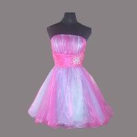 Free Shipping Pastel Muti Colors Rainbow Prom Dresses Short Robe Longue 2016 Cocktail Birthday Girl Dress