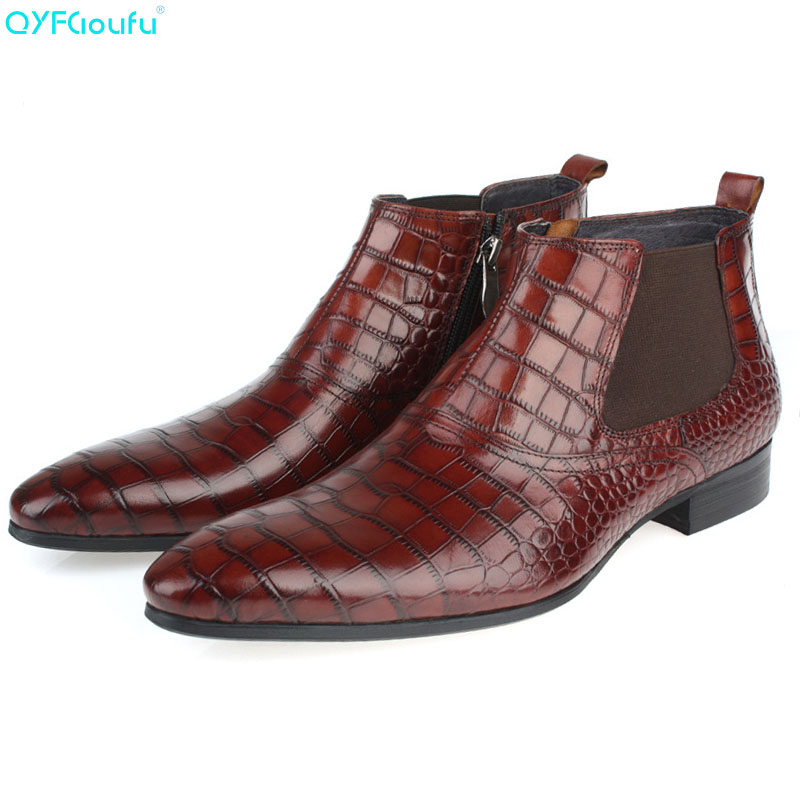 QYFCIOUFU New Mens Fashion Chelsea Boots Crocodile Pattern Ankle Boots Shoes Genuine Leather Boots Slip-on Pointy Martin BootsQYFCIOUFU New Mens Fashion Chelsea Boots Crocodile Pattern Ankle Boots Shoes Genuine Leather Boots Slip-on Pointy Martin Boots